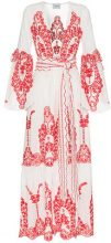 We Are Leone - V-neck embroidered cotton robe - women - Cotton/Polyester - XS/S, S/M, M/L - NUDE & NEUTRALS