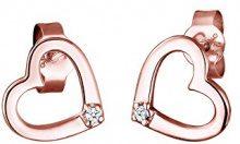 Diamore Orecchini a Perno da Donna Placcato Oro Rosa con Diamante Bianco
