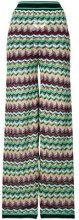 M Missoni - Pantaloni con stampa a zigzag - women - Cotton/Linen/Flax/Polyamide/Viscose - 42 - GREEN