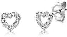 Miore Orecchini Donna Cuore Piccoli a Lobo Diamanti taglio Brillante ct 0.08 Oro Bianco 9 Kt/375