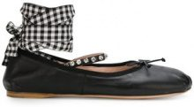 Miu Miu - ankle tie ballerinas - women - Leather - 35.5, 36, 36.5, 37, 37.5, 38, 38.5, 39, 40, 41 - Nero