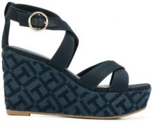 Tommy Hilfiger - Sandali con zeppa goffrata - women - Cotton/Leather/Polyurethane/rubber - 36, 37, 38, 39, 40, 41 - BLUE
