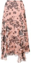 Rochas - floral print ruffle skirt - women - Silk - 40, 44 - PINK & PURPLE