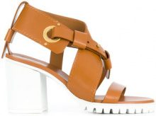Chloé - strappy chunky mid heel sandal - women - Calf Leather/Leather/rubber - 36, 37, 38, 39, 39.5, 40, 41 - BROWN