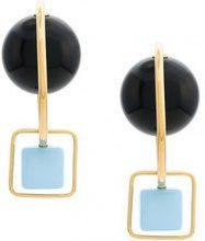 - Marni - Orecchini con pietre - women - ottone/resina - Taglia Unica - di colore nero