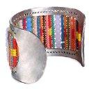 EManco - Bracciale a polsino con perline multicolori fatte a mano, da donna