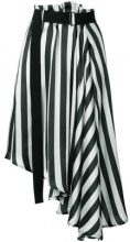 Ann Demeulemeester - striped asymmetric skirt - women - Silk - 40 - Nero