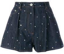 Miu Miu - Shorts in denim ricamati - women - Cotton/Viscose/metal/glass - 27, 28, 26 - BLUE