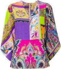 Etro - Blusa con motivo etnico con scollo a V - women - Silk - 42 - Multicolore
