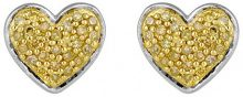 Jewelili Donna 925 argento Rotonda giallo Diamante