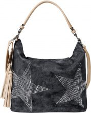 Borsa shopper in denim con stella di strass