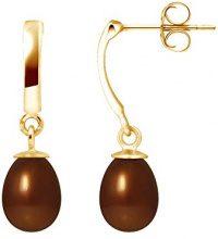 Pearls Colors &-Orecchini pendenti, in oro giallo 9 kt, con perla d'acqua dolce, AM-9BOC P6J CHO-136