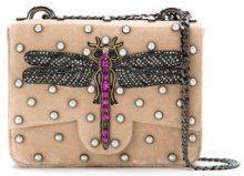 Isla - embellished velvet shoulder bag - women - Glass Fiber/Velvet/Metallized Polyester/metal - OS - NUDE & NEUTRALS