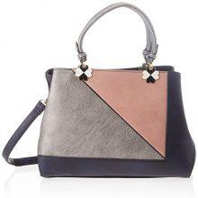 SwankySwans Violet Color Block Handbag - Borse Tote Donna, Blu (Navy), 12x28x30 cm (W x H x L)