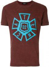 - Dsquared2 - printed T - shirt - men - fibra sintetica/cotone - XL, XXL, XS, S, M, L - di colore rosso