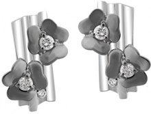 Orphelia orecchini da donna in argento 925rodiato con zirconi taglio brillante bianco, argento, colore: Silver/Black, cod. ZO-6039/2