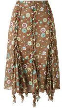 Romeo Gigli Vintage - Gonna con stampa - women - Cotton - 40 - BROWN