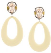 Dannijo - Elvis earrings - women - Acrylic/Crystal/ottone placcato argento - OS - YELLOW & ORANGE