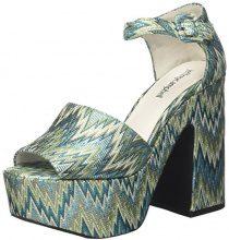 Jeffrey Campbell Candice Fabric, Scarpe Col Tacco Punta Aperta Donna, Multicolore (Turquoise Silver), 36 EU