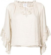 Misa Los Angeles - ruffle sleeve blouse - women - Polyester/Rayon - S - NUDE & NEUTRALS