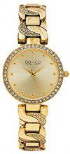 SO & CO New York Orologio da Polso, Analogico, Donna, Cinturino Placcato in Acciaio Inox, Oro