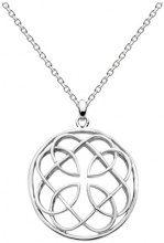 Heritage-Collana da donna con ciondolo rotondo con motivo celtico, argento Sterling, lunghezza 45,7 cm