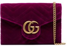 Gucci - fuchsia GG Marmont velvet wallet on a chain - women - Velvet/Leather - One Size - PINK & PURPLE