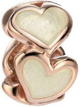 Elements Silver-Collana in argento Sterling, smaltato, a forma di cuore in oro rosa con perline