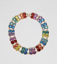 Esclusiva ASOS DESIGN Curve - Collana appariscente oro con pietre multicolore - Oro