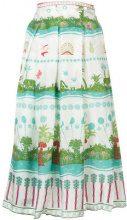 Le Sirenuse - nature print pleated wrap skirt - women - Acetate - 42 - GREEN