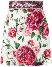 Dolce & Gabbana - rose print brocade mini skirt - women - Cotton/Silk/Viscose/Metallic Fibre - 40 - WHITE
