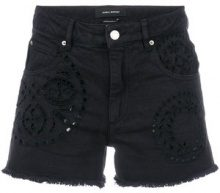- Isabel Marant - Shorts denim con motivo sangallo - women - Cotone - 36, 38 - Nero
