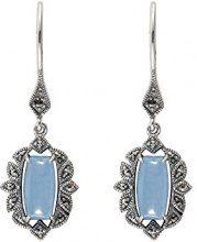 Esse Marcasite,orecchini pendenti da donna, in argento Sterling 925, con giada blu circolare e marcasite