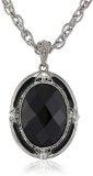 1928 Jewelry - Collana in argento e ciondolo ovale con cristallo sfaccettato colore nero, 46 cm
