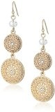 1928 Jewelry - Orecchini pendenti a dischetti, con cristalli, colore: oro