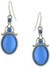 1928 Jewelry - Orecchini pendenti, tonalità argento, con zaffiro blu ovale
