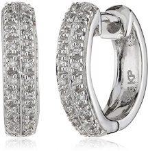 Diamonds by Ellen K. - Orecchini a cerchio da donna con diamante (0,1 ct), oro bianco 14k (585), cod. 317310008-3