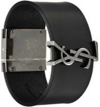 Saint Laurent - Bracciale con logo - women - Calf Leather - M, L - Nero