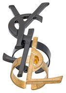 Saint Laurent - Anelli 'Monogram' destrutturato - women - Brass/rutenio - OS - METALLIC
