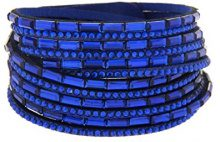 Kettenworld Bracciale in morbida ecopelle con strass decorativi in diversi colori & versioni, acciaio inossidabile, colore: blu, cod. 370664