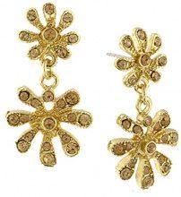 1928 Jewelry Oro, tonalità di luce-Orecchini pendenti a forma di fiore con cristalli, colore: topazio