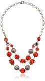 1928 Jewelry-Orecchini argento, colore: rosso con perline sfaccettate 45,72 cm (18