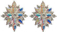 Cristalina-Bracciale placcato argento, con cristalli Swarovski, Aurora Borealis-Orecchini a grappolo, motivo Starburst