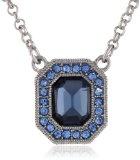 1928 Jewelry-Orecchini, in argento sterling, con zaffiro blu Montana-Collana con pendente con cristallo ottagonale 40,64 cm (16