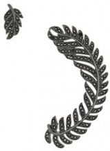 Federica Tosi - 'Leaf' earrings - women - Brass/Crystal - OS - Nero
