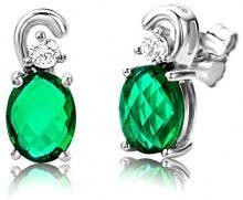 ByJoy Orecchini Donna a Lobo Piccoli con Smeraldo in Argento Sterling 925