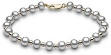 Kimura Pearls Donna  9 carati  oro giallo Rotonda Semisferica perla cinesa da coltivazione grigio Perla FINENECKLACEBRACELETANKLET
