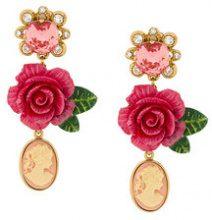 Dolce & Gabbana - cameo crystal rose drop earrings - women - Crystal/Resin/Brass - OS - Rosa & viola