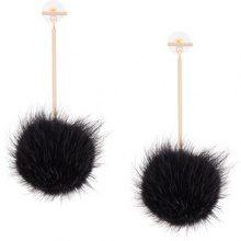 Tuleste - Orecchini con pompom pendente - women - Mink Fur - OS - Nero