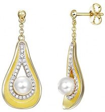 Pierre Cardin 925 argento palla Finta perla bianco Zirconia cubica Perla